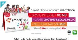 Kartu Internet Smartfren, Gratis 100mb Cuma 5 Ribuan