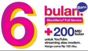 Paket BlackBerry Tri 125 Ribu Full Service 6 Bulan