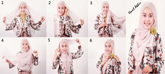cara memakai jilbab kreasi segi empat