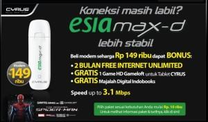 Modem Esia Max-D Gratis 2 Bulan Internet Unlimited