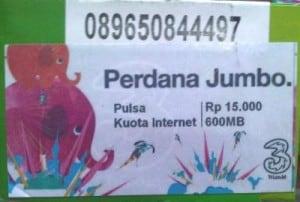 Kartu Perdana Tri Jumbo Dengan Kuota 600 Mb