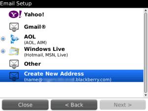 mengatur email blackberry internet service