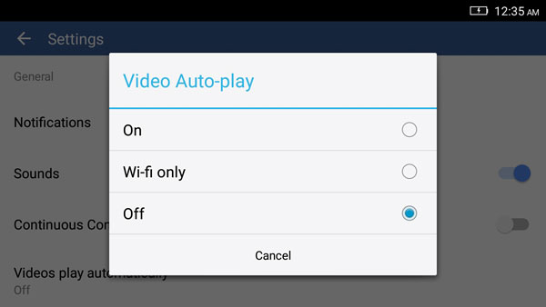 menonaktifkan autoplay video facebook