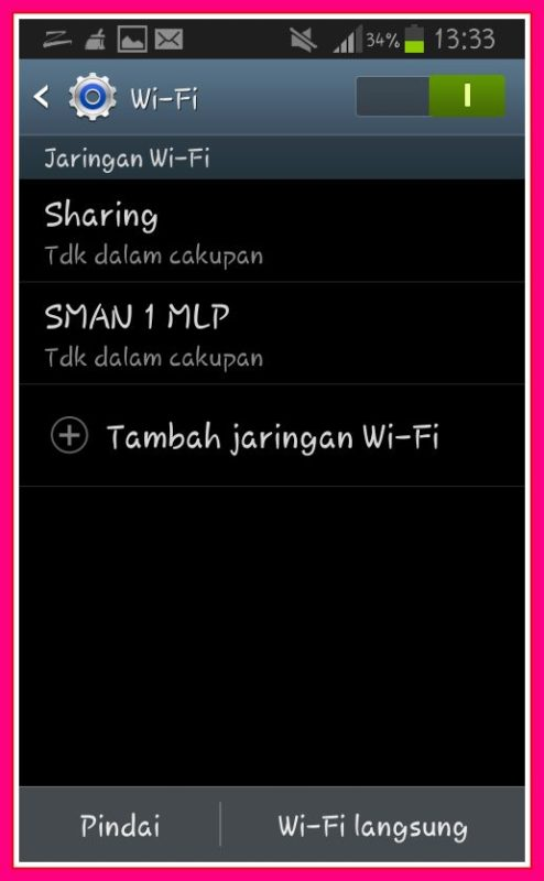 setting jaringan wifi