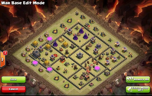 Base War COC TH 9 Terbaru Anti Serangan Hog dan Valkyrie