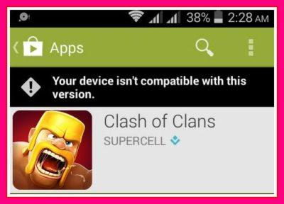 perangkat anda tidak kompatibel dengan versi ini