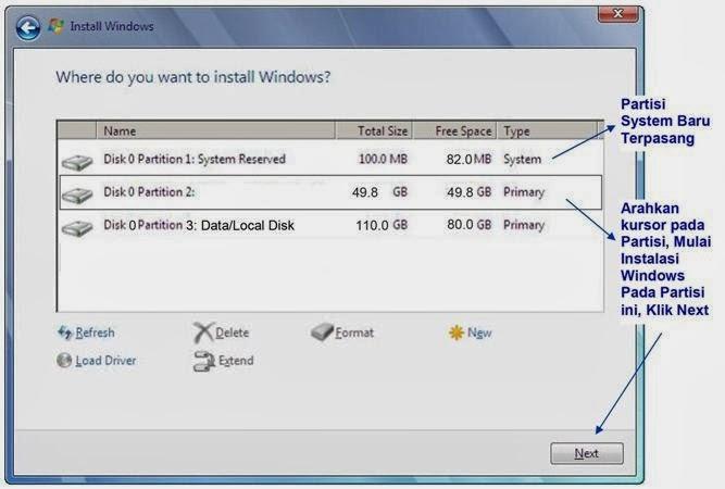 Proses install pada Drive C
