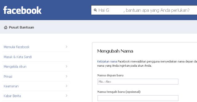 cara mengubah nama akun facebook