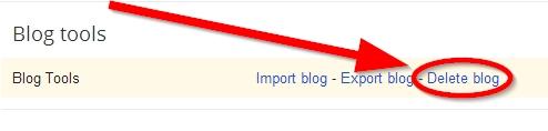 pilih delete untuk menghapus blog