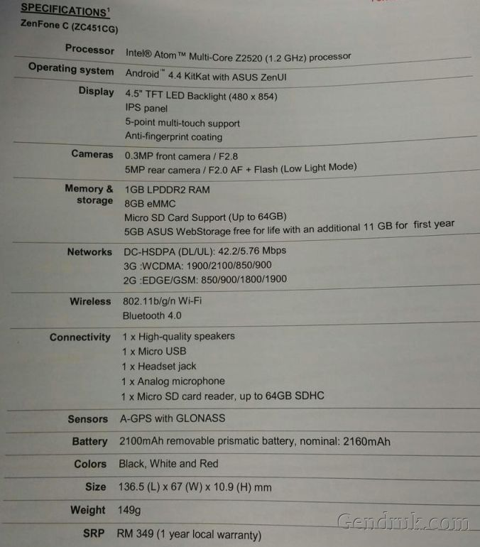Spesifikasi Asus Zenfone C