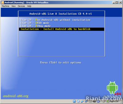 proses instalasi android kitkat di virtualbox